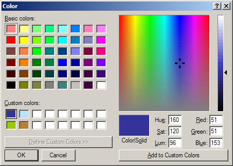 Windows custom color selection dialog