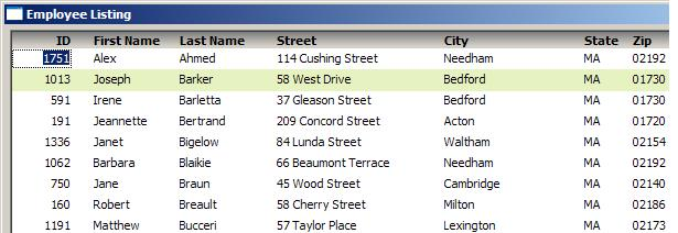 Employee listing - PB11.5