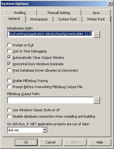 PB System Options dialog